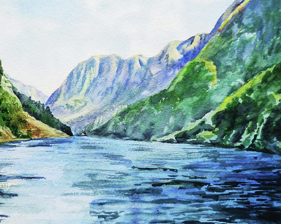 Mountains And Lake Watercolor Painting