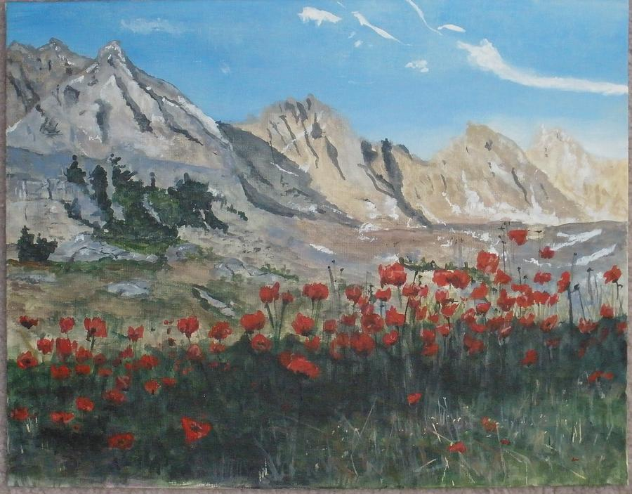 Landscape Painting - Mountains And Poppies by Betty-Anne McDonald
