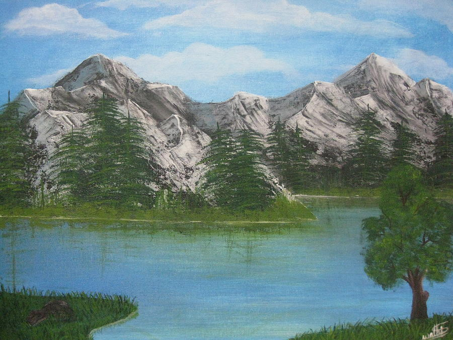 Landscapes Painting - Mountains And River by Swathi Kurunji