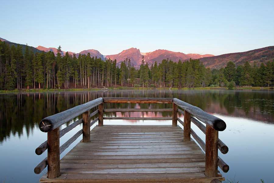 Horizontal Photograph - Mountains Behind Sprague Lake by Lightvision, LLC