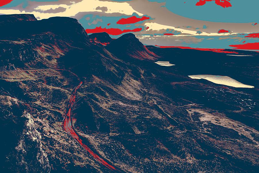 Nature Painting - Mountains By Red Road by Celestial Images