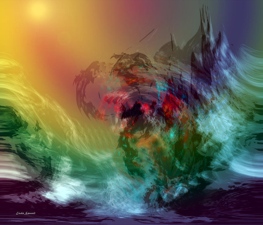 Mountains Digital Art - Mountains Crumble To The Sea by Linda Sannuti