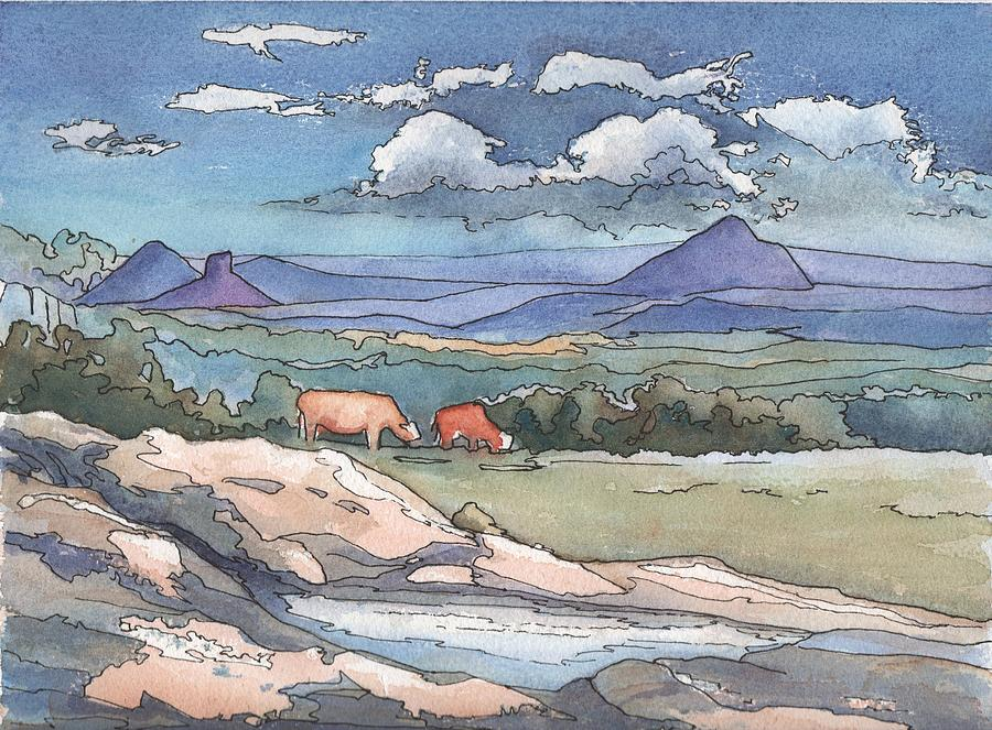 Mountains Painting - Mountains From Maleny by Robynne Hardison