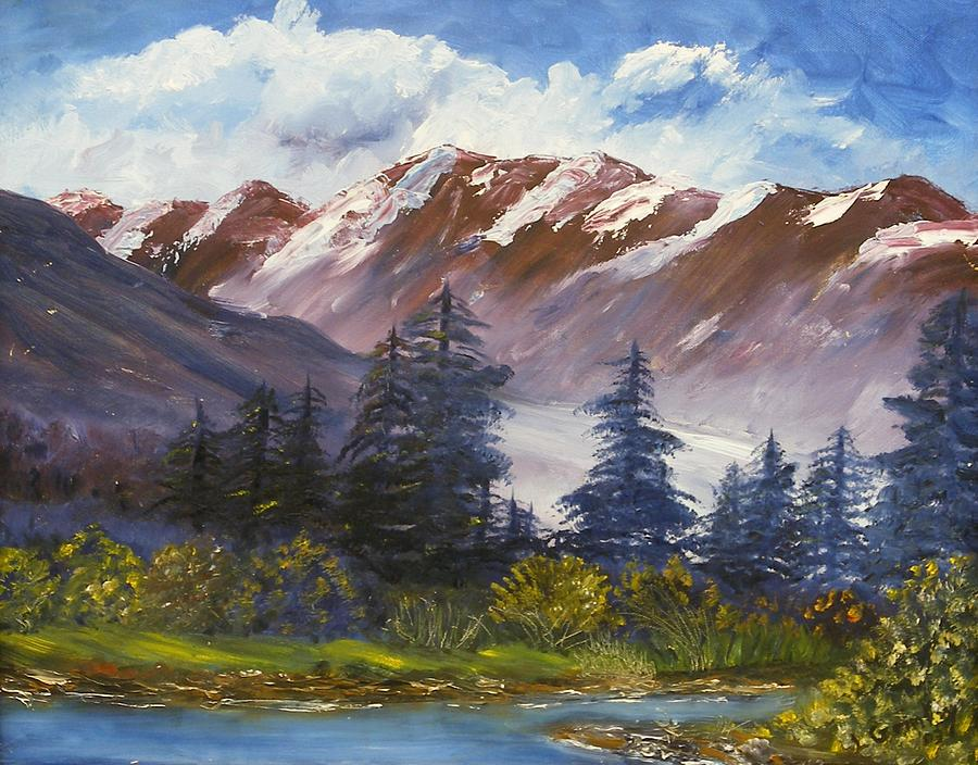Oil Painting Painting - Mountains I by Lessandra Grimley