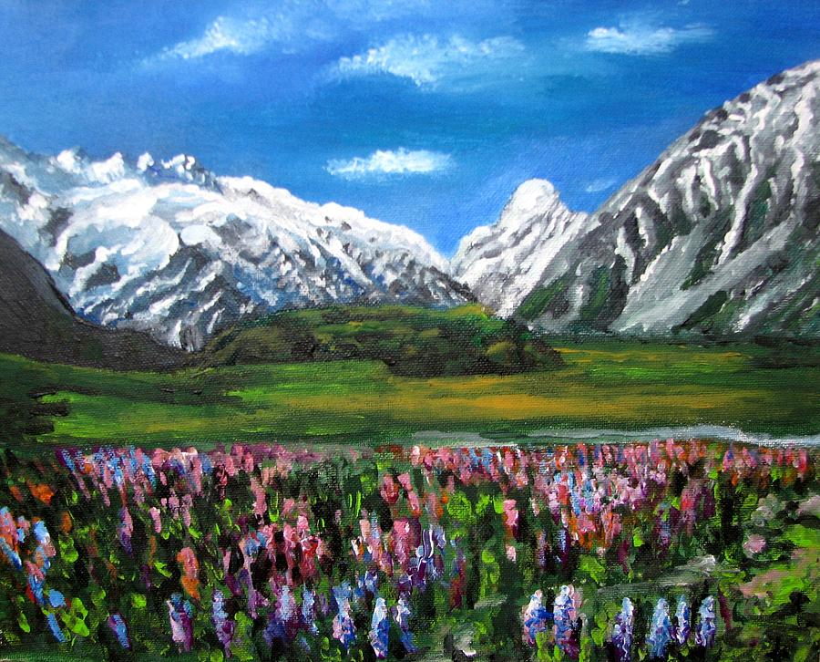 Mountains Landscape Painting - Mountains Landscape Acrylic  Painting by Natalja Picugina