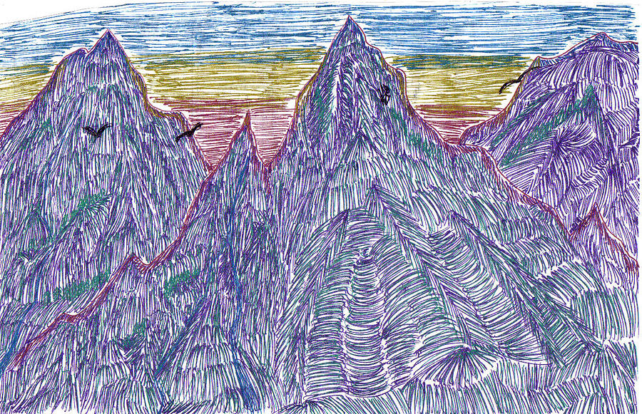 Mountains Drawing by Lynnette Jones