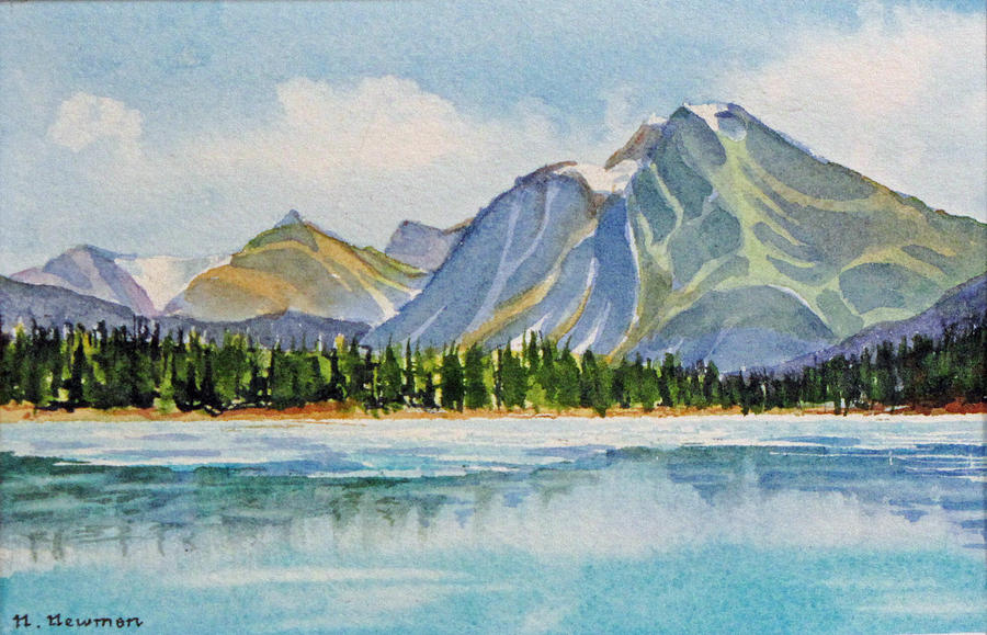 Mountains Painting - Mountains-near-jasper by Nancy Newman