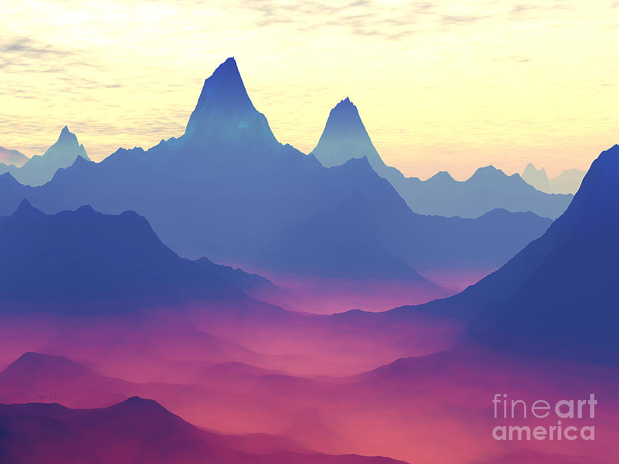 Science Fiction Digital Art - Mountains of Another World by Phil Perkins