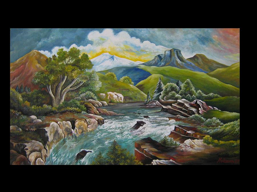 Landscape Painting - Mountains River by Netka Dimoska