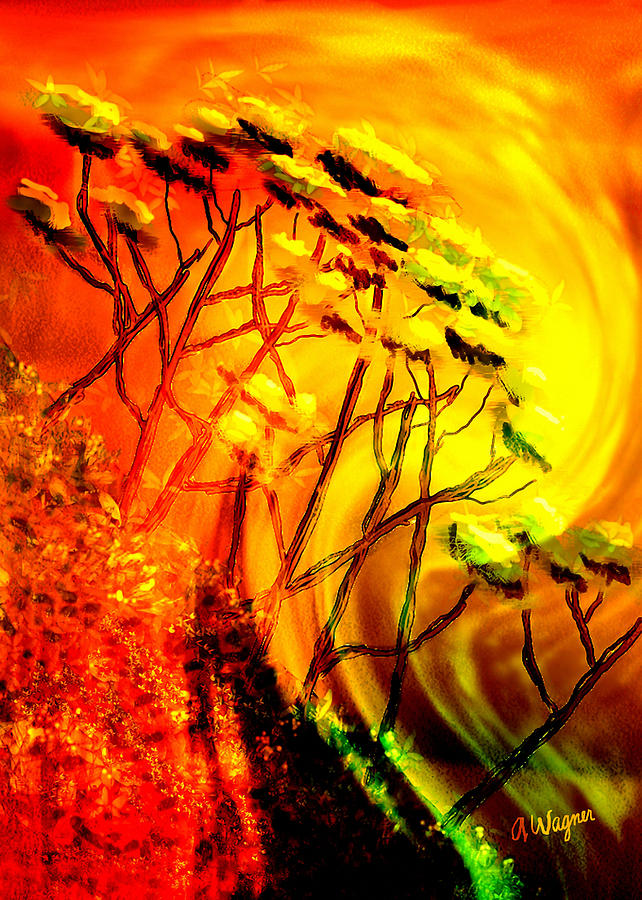 Mountain Digital Art - Mountainside Firestorm by Arline Wagner