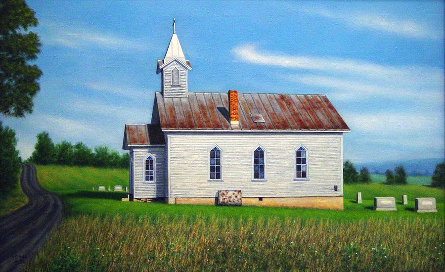 Landscape Painting - Mountain View Church by Charles Hill