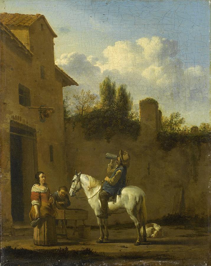 Man Drinking Painting - Mounted Trumpeter Taking A Drink by Karel Dujardin