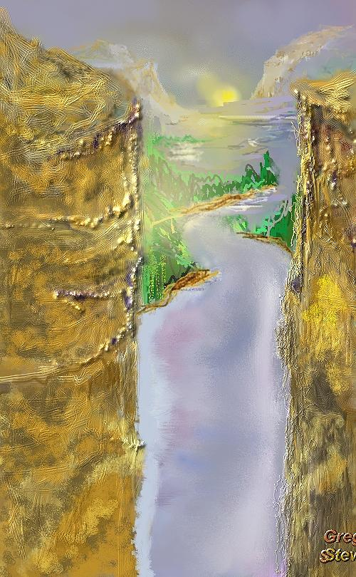 Mountian Digital Art - Mountian Valley View by Gregory