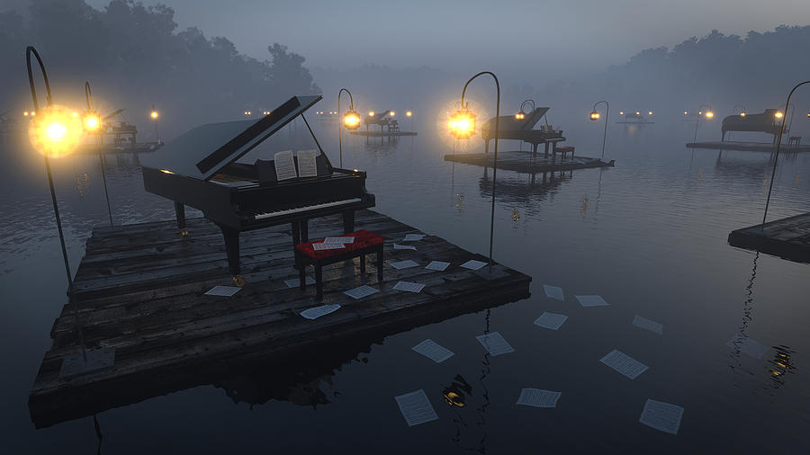Pianos on a Lake by Joel Lueck