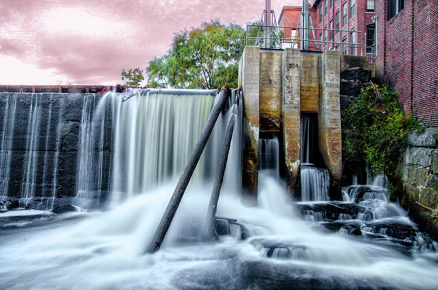River Photograph - Mousam River Waterfall In Kennebunk Maine by Bill Cannon