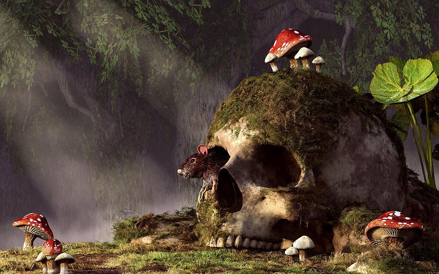 Mouse Digital Art - Mouse In A Skull by Daniel Eskridge