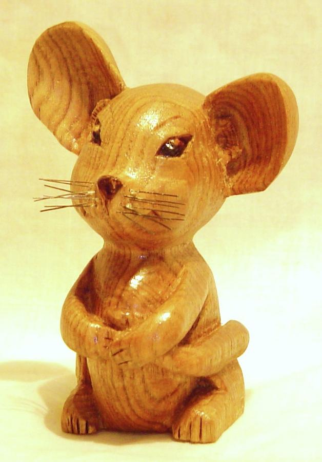 Woodcarving Sculpture - Mouse by Russell Ellingsworth