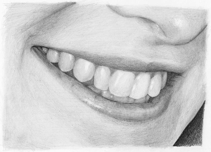 Pencil Drawing - Mouth Study by Nolan Clark