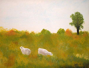 Landscape Painting Painting - Moutons  by Lise-marielle Fortin