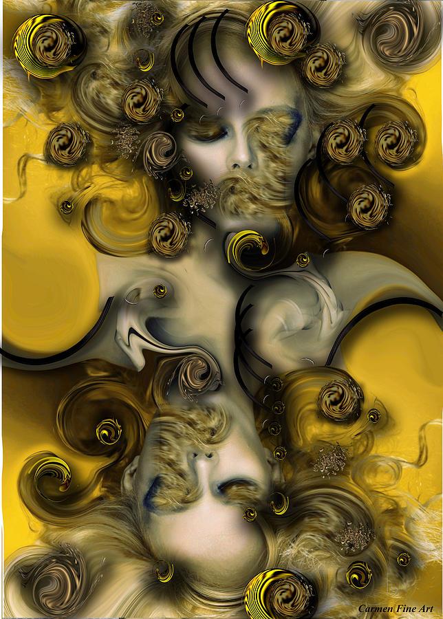 Yellow Digital Art - Movement With Venus by Carmen Fine Art