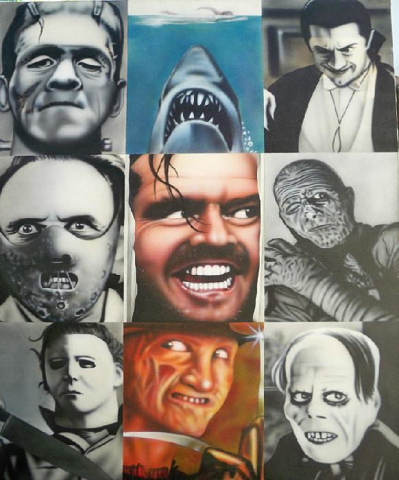Jaws Painting - Movie Villians by Brett Sauce