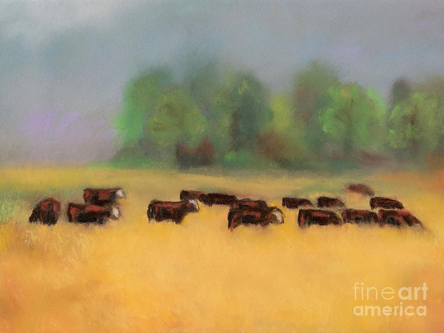 Cattle Painting - Moving On by Frances Marino