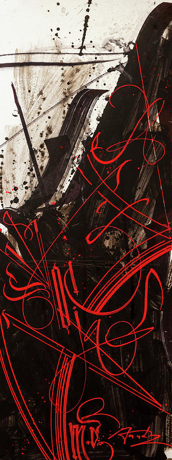 Moving Red Lights. Calligraphic Abstract Drawing