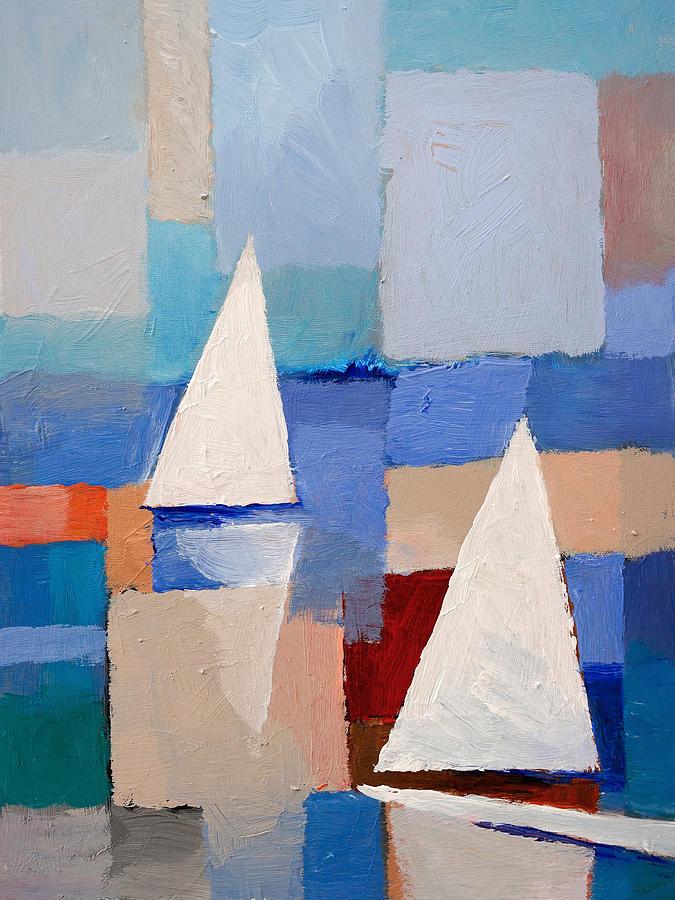 Abstract Sailboat Painting - Abstract Sailboats by Lutz Baar