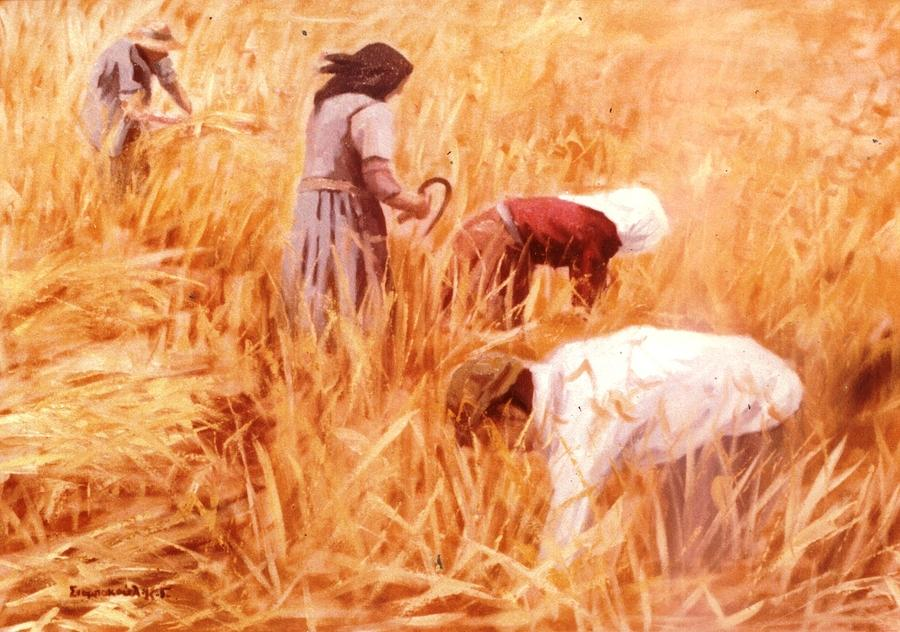Mowing Harvest Painting by George Siaba