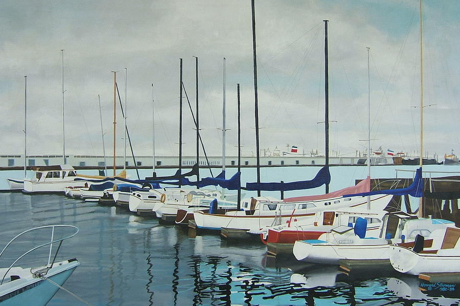 Oakland Painting - Mozells Boats by Howard Stroman
