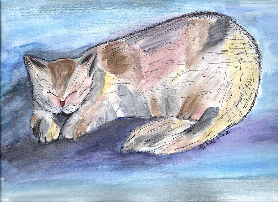 Fun Painting - Mprints - Rainbow Cat by M  Stuart