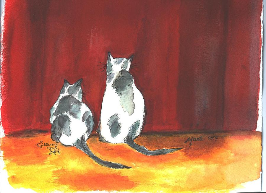 Cats Painting - Mprints - Seeing Red by M  Stuart
