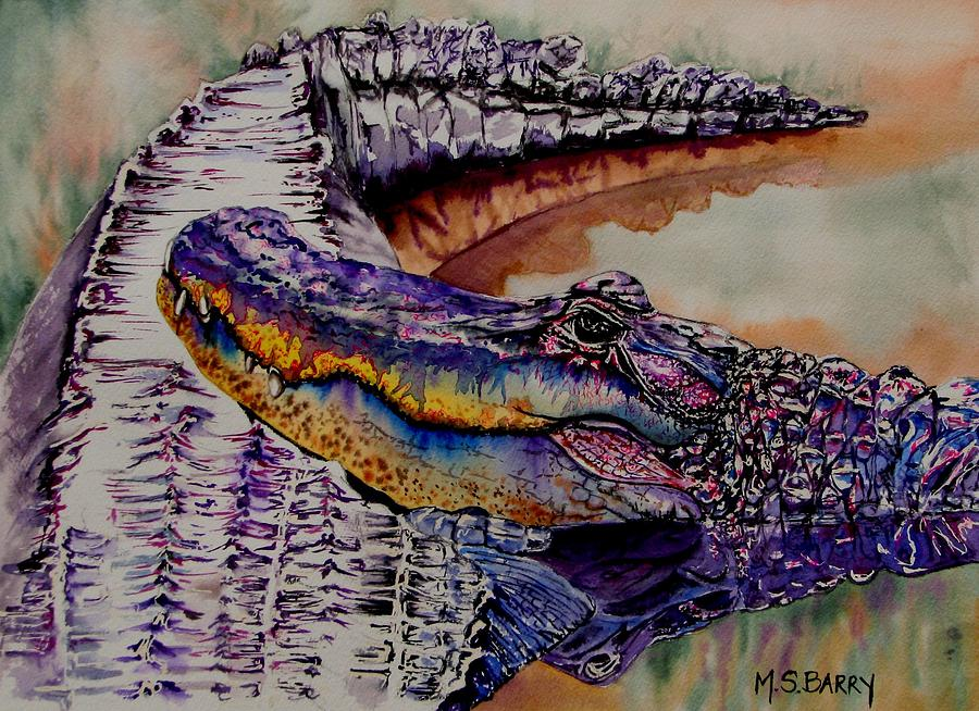 Alligators Painting - Mr And Mrs by Maria Barry
