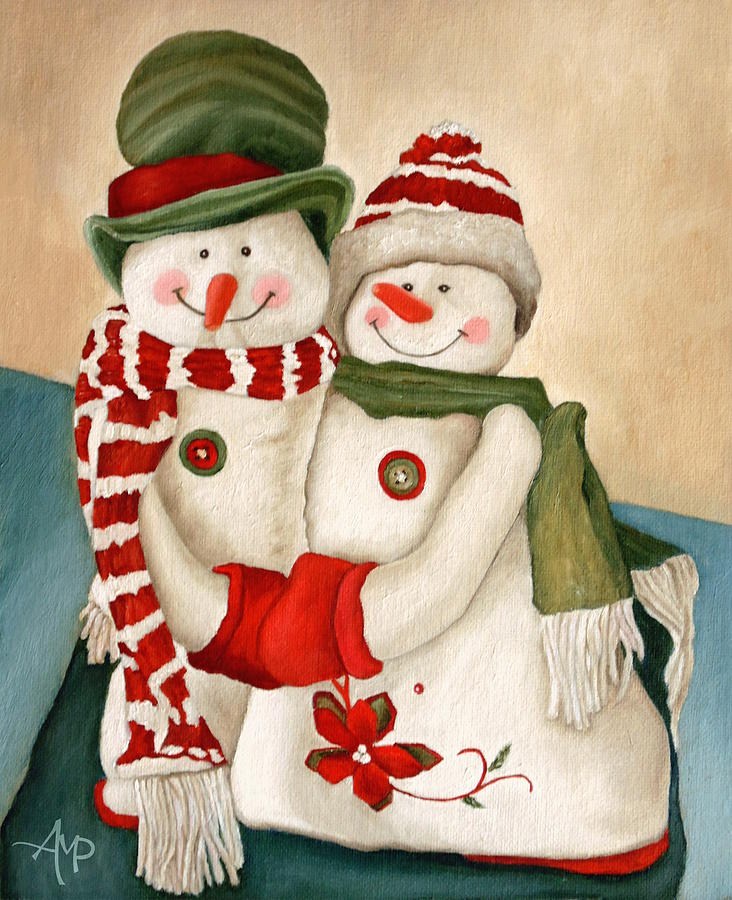 Snowman Painting - Mr. And Mrs. Snowman Vintage by Angeles M Pomata
