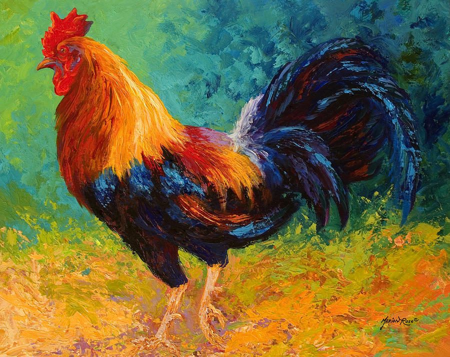 Rooster Painting - Mr Big - Rooster by Marion Rose