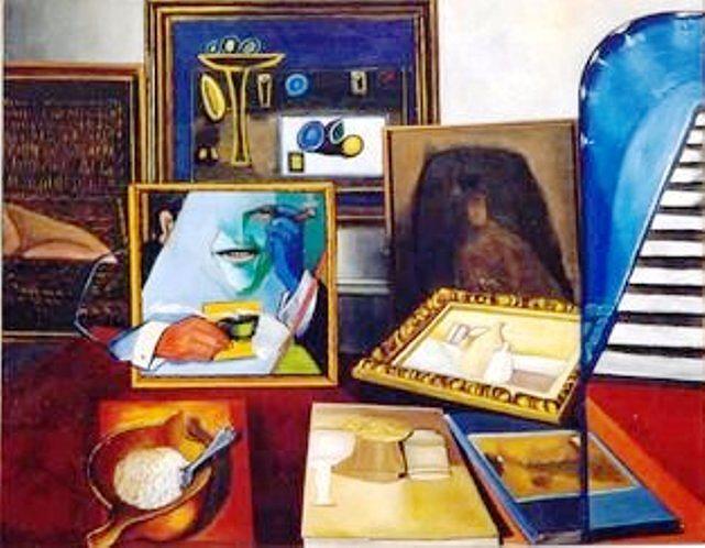 Figurative Painting - Mr. Gallery Man On Pisgah Revew by Sandro Sabatini