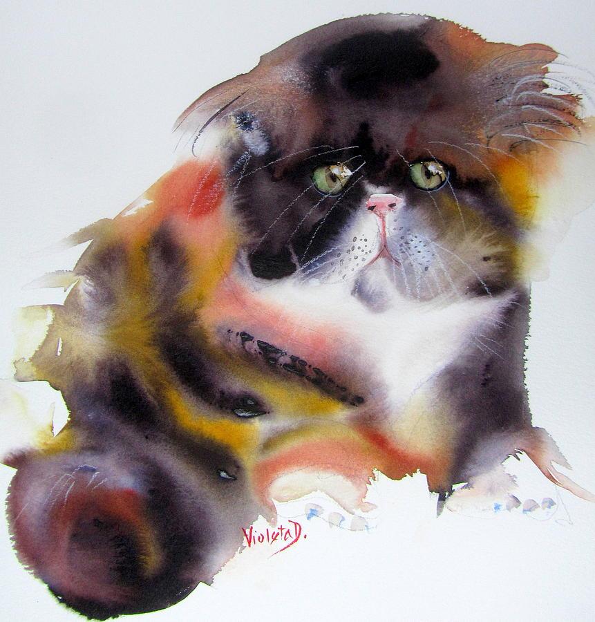 Cat Painting - Mr. Hardy by Violeta Damjanovic-Behrendt