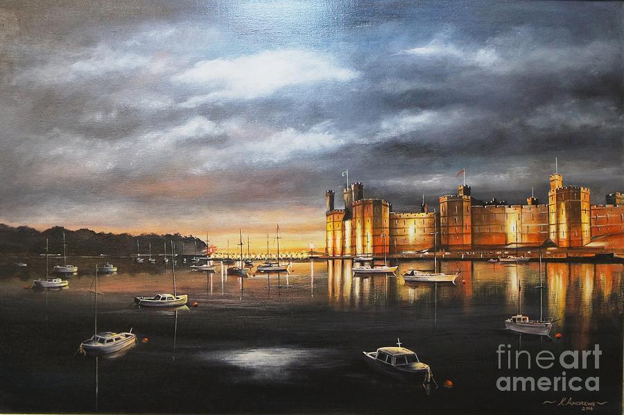 Caernarfon Castle, At Night Painting by Kevin Andrews BA