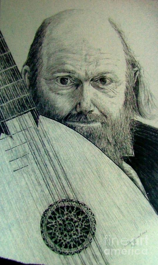 Portrait Drawing - Mr. Mandolin by Dan Hausel