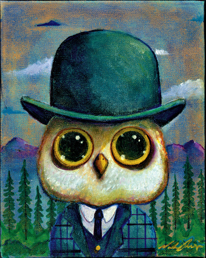 Owl Painting - Mr Owl by Nelson Perez