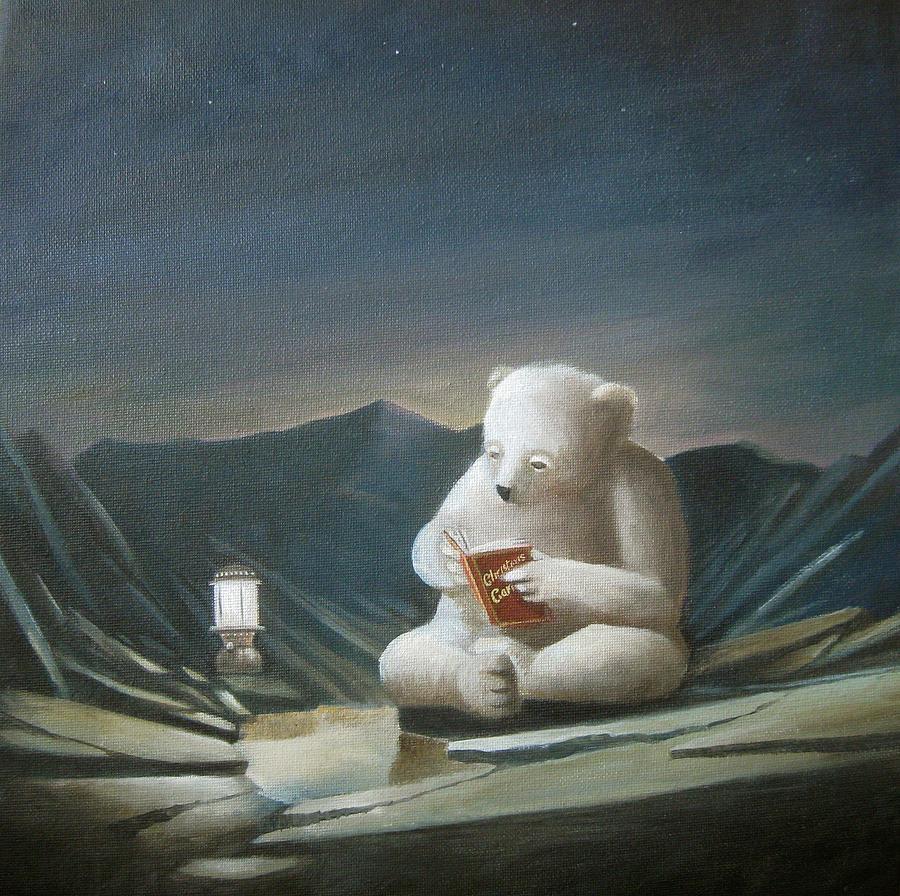Figurative Painting - Mr Polar Bear Sits Alone Reading Christmas Carols by Oliver Hurst