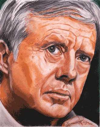 Portrait Painting - Mr. President - Jimmy Carter by Kenneth Kelsoe