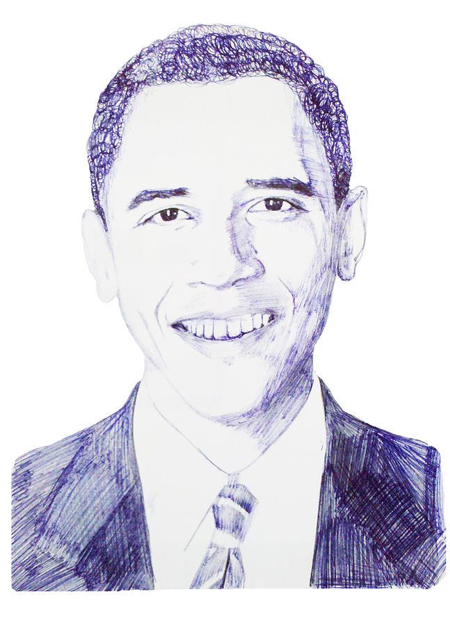 Barack Drawing - Mr. President by Benjamin McDaniel