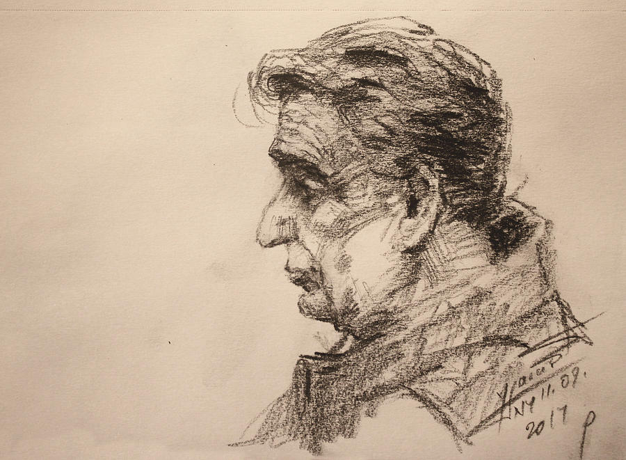 Portrait Drawing - mr R by Ylli Haruni
