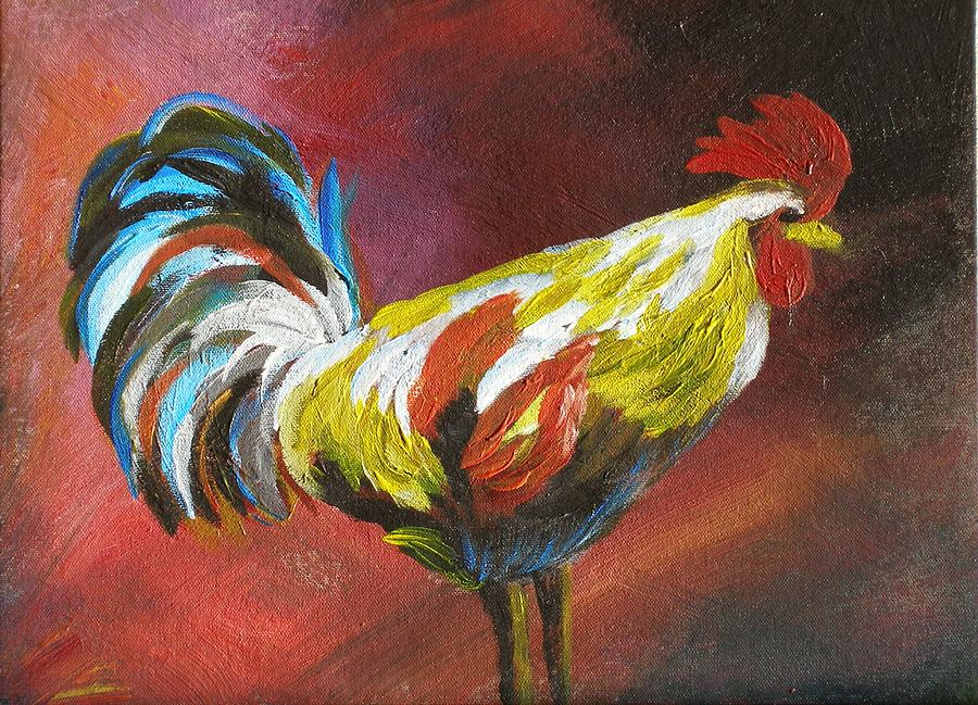 Acrylic Painting - Mr Rooster by Rod Skramstad