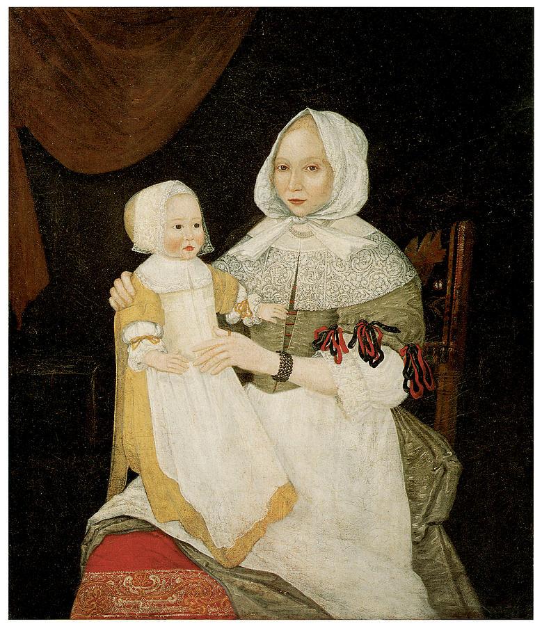 Portraits Painting - Mrs. Elizabeth Freake And Baby Mary by Freake Limner