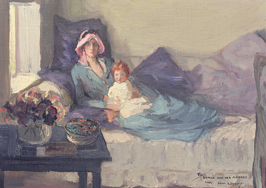 Mother And Child Painting - Mrs Winston Churchill With Her Daughter Sarah by Sir John Lavery