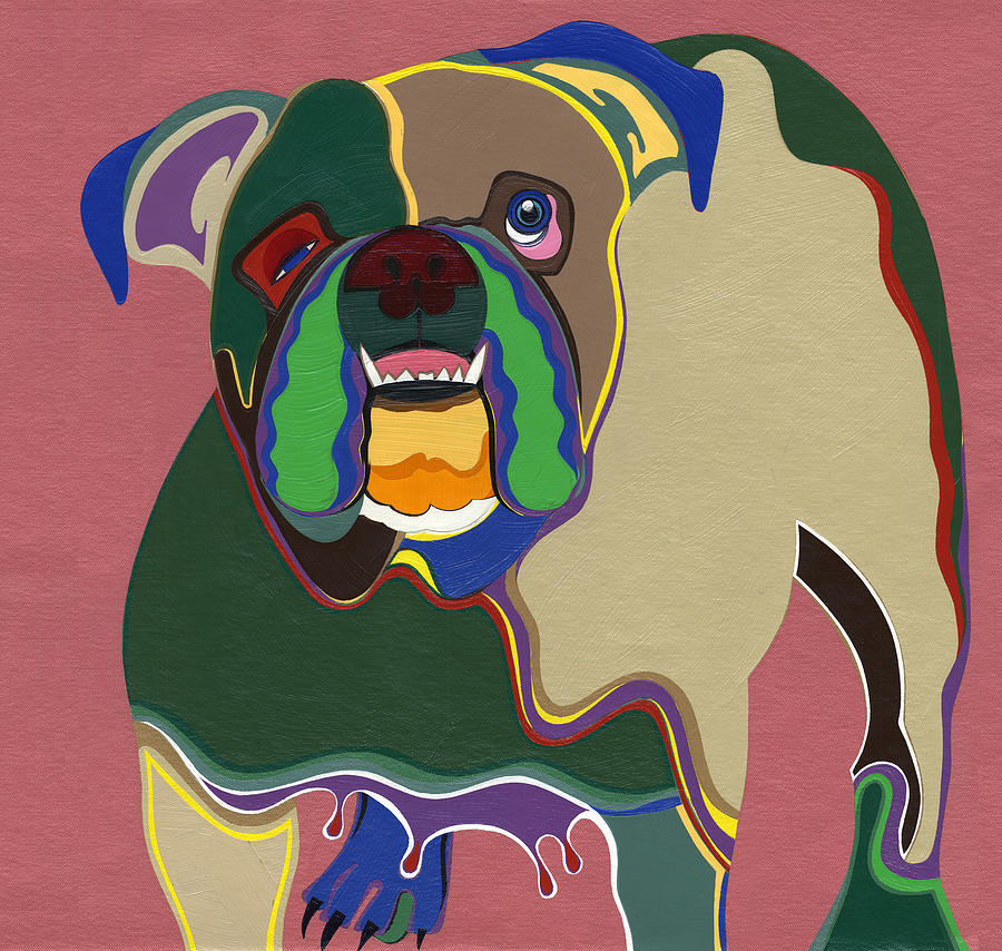 Dogs Painting - Ms Diva The English Bulldog by Ruby Persson