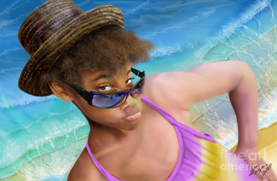Beach Scene Painting - Ms. Sophie D by Reggie Duffie