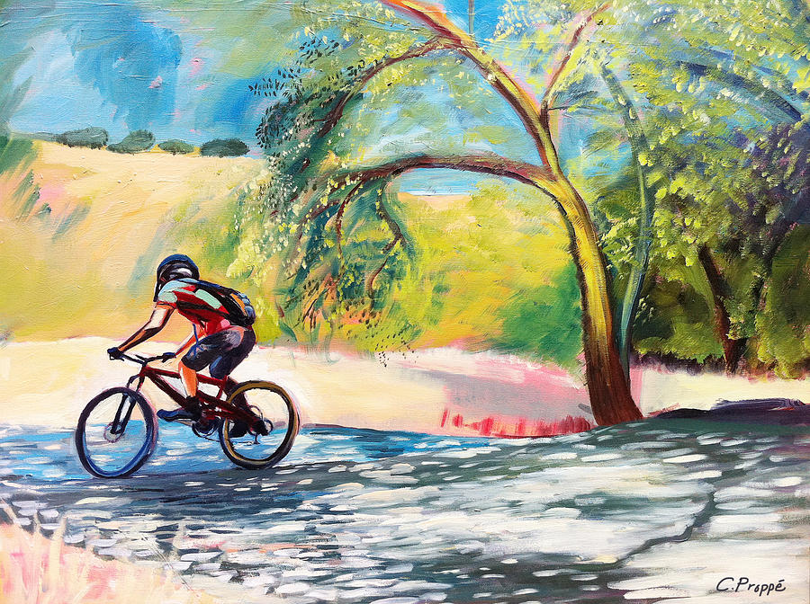 Cyclist Painting - Mt. Bike With Tree Shadows by Colleen Proppe